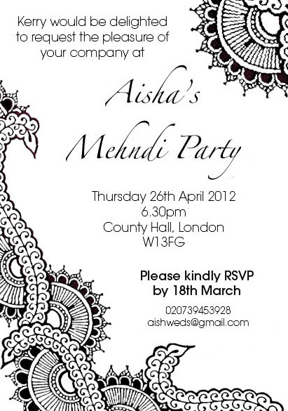 Henna Party Invitation Design The Curious Londoner