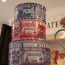 Pretty tins at Biscuiteers