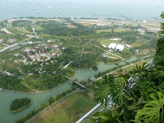 The view from Marina Bay Sands over Gardens by the Bay