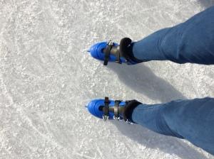 ice skates on ice
