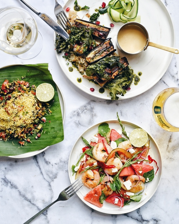 Fire Roasted Aubergine Pacific Tiger Prawns & Watermelon Salad Byron Bhel Puri (Photo Credits Leyla Kazim)
