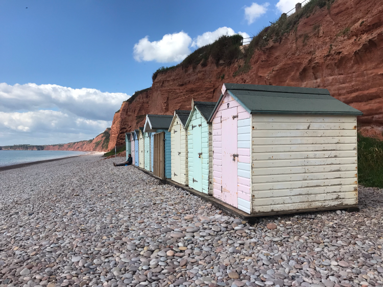 Budleigh Salterton pastel coloured beach huts